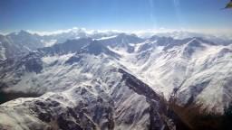 Pamir Mountains in Tajikistan from plane window